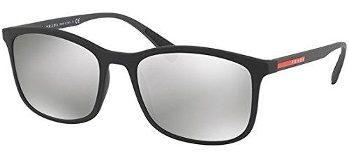 Prada Linea Rossa Men's 0PS 01TS Black Rubber/Light Grey Mirror Silver One Size (Prada Logo)