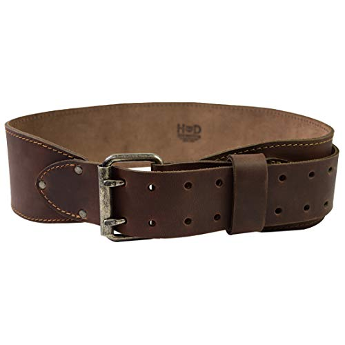 Hide & Drink, Double Prong Weightlifting Leather Belt, (3 in.) Wide, Size (31 in. to 38 in) :: Bourbon Brown