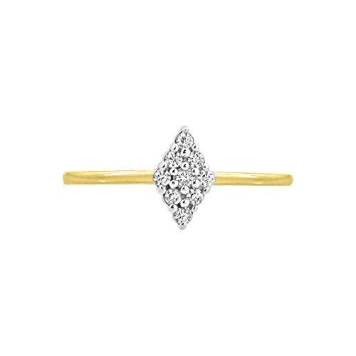 Diamond Scotch Round White Cubic Zirconia Marquise Shape Cluster Toe Ring in 14k Yellow Gold Over