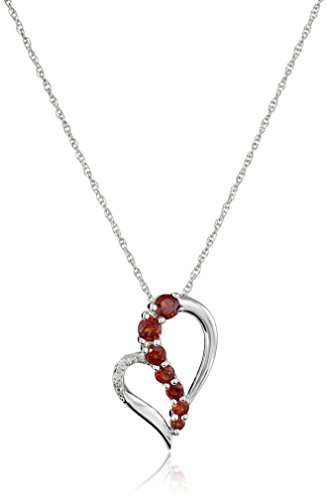 - Sterling Silver Garnet and Diamond Accent Heart Journey Pendant Necklace, 18
