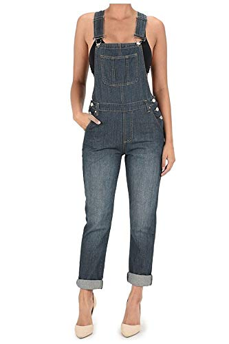 TwiinSisters Women's Basic Boyfriend Fit Denim Bib Overalls Plus (X-Large, Vintage Blue #Rjho2234)