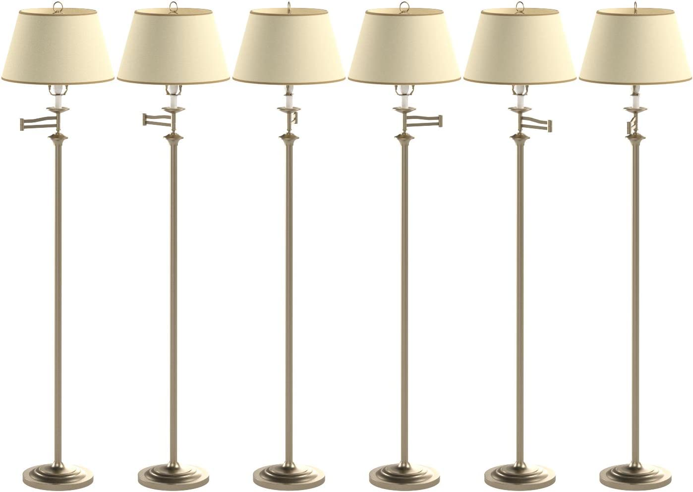 Belfry Swing Arm Floor Lamp Antique Brass Finish Supplied Complete With Parchment Shade Amazon Co Uk Lighting