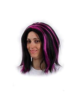 DISBACANAL Peluca Negra con mechones - Violeta