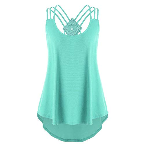 QueenMMWomen Bandages Sleeveless Vest Top High Low Tank Top Notes Strappy Tank Tops Green