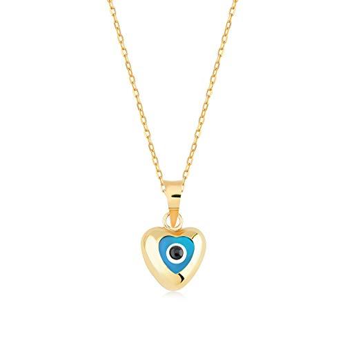 Gelin 14k Yellow Evil Eye Heart Pendant Necklace for Women, 18