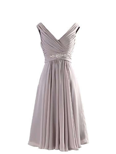 LOVEBEAUTY Women's V Neck Criss Cross Pleated Short Mother Of The Bride Dresses Grey 2