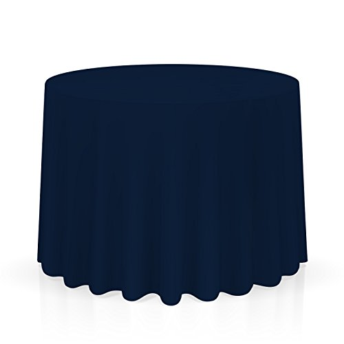 "Lanns Linens 120"" Round Premium Tablecloth for Wedding/Banquet/Restaurant - Polyester Fabric Table Cloth - Navy Blue"