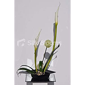 Silk Blooms Ltd Artificial Ikebana Inspired Allium and Goddess Lily Flower Arrangement w/Orchid Leaves and Moss 10