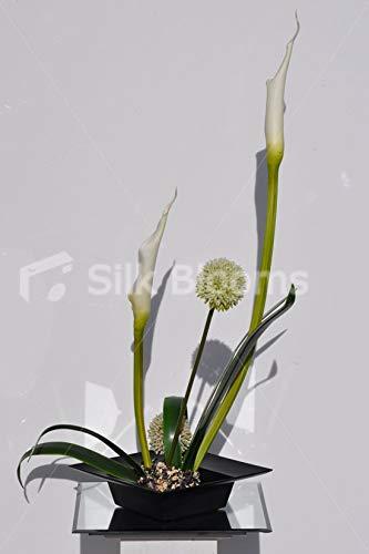 Silk-Blooms-Ltd-Artificial-Ikebana-Inspired-Allium-and-Goddess-Lily-Flower-Arrangement-wOrchid-Leaves-and-Moss