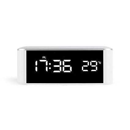 SODIAL Reloj electronico LED para el hogar Reloj espejo Termometro casero con alarma de escritorio digital