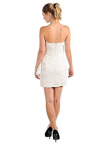 Ivory Dress Strapless Ruffle with Cocktail Bottom UX1qn5pF