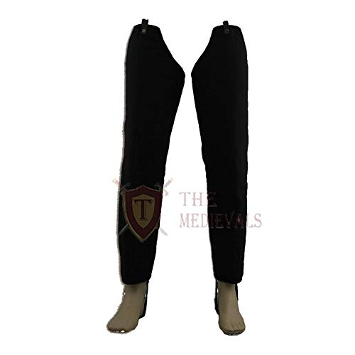 (The Medival Shop Thick Padded Medieval Lagging Gambeson Chausses Lower Under Hauberk Armor - Black, 38)