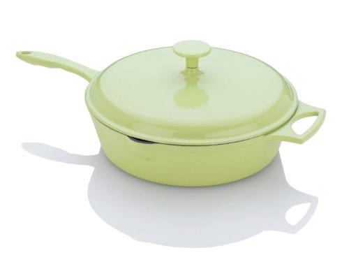 Fagor Michelle B. 4-Quart Chicken Fryer with Lid, Lemon Lime (Coated Cast Iron Skillet)