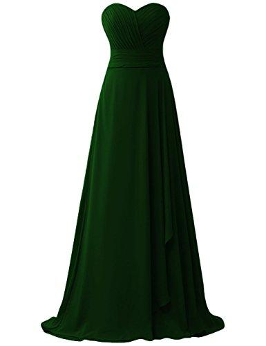 da ballo sera Vestito Chiffon scuro da da Lungo PRTS Abiti da damigella Senza Vestito Verde partito Abito maniche 7wfSPqz