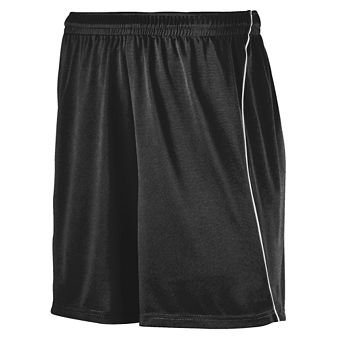 Adult Wicking Soccer Short with Piping - Black/White - X-Large