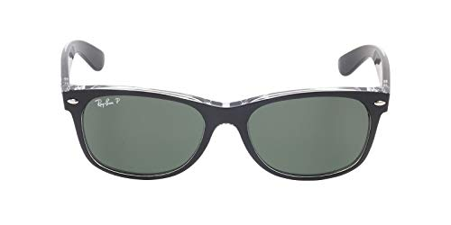 (Ray-Ban RB2132 New Wayfarer Polarized Sunglasses, Black On Transparent/Polarized Green, 55 mm)