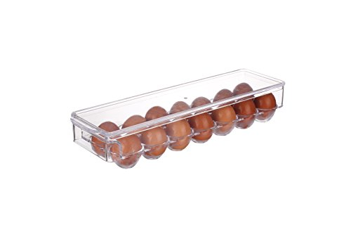 Scotty's (TM) Refrigerator Storage Organizer Egg Bin - Egg Holder - With lid for protection - Stackable - Great to Organize Your Fridge - BPA Free Great Holiday Gift (14 Eggs, Clear)
