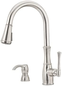 Pfister GT529-WHS Wheaton Single Handle Pull-Down Kitchen Faucet with Soap Dispenser, Stainless Steel