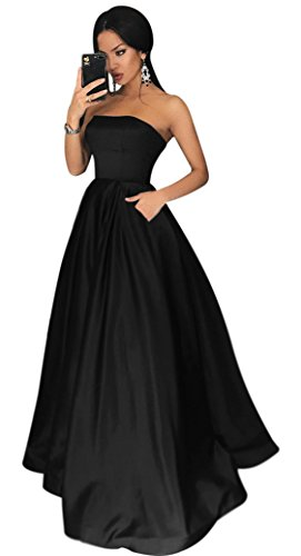 Yangprom Satin Strapless Formal Gowns with Beaded Pockets Lace Up Back Prom Dresses Long (20W, Black)