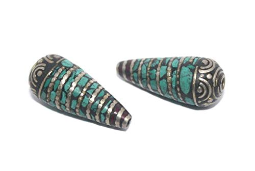 - Jewelry Making Supplies - Turquoise Beads Coral Beads 2 Beads Silver Beads Tibetan Beads Nepal Beads Tibet Beads Tribal Beads Boho Beads Ethnic Beads BDA28 - Perfect and Stunning Beads