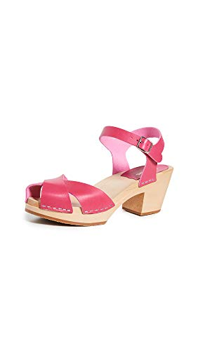 swedish hasbeens Women's Mirja Ankle Strap Clogs, Cherry Pink, 41 M EU