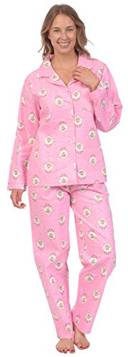 Patricia Lingerie Pink Lady Womens 100% Cotton Long Sleeve Print 2 Piece Flannel Pajama Set (Pink Sheep Print, XL)]()
