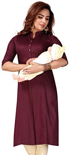 CEE 18 Women's Cotton Straight Feeding Kurta/Maternity Kurta/Easy Breast Feeding Kurti/Western Dress with Zippers for Nursing Pre and Post Pregnancy