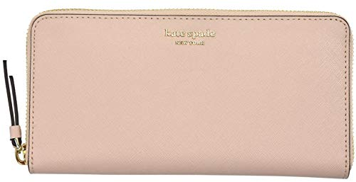 Pink Spade - Kate Spade New York Laurel Way Neda Saffiano Leather Zip Around Wallet (Black) (Warmvellum)