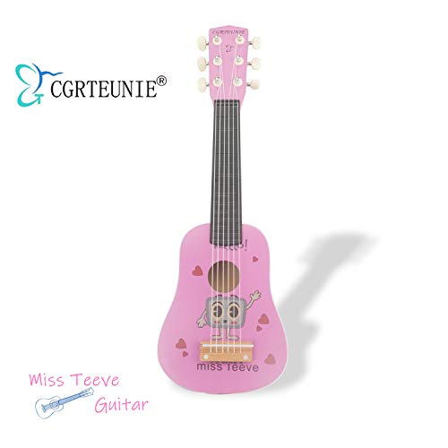 CGRTEUNIE Classical Acoustic 6 String 21 Inch Handmade Wooden Guitar Ukulele Rhyme Developmental Musical Instrument Educational Toy for Toddlers Children Beginner (Miss Teeve)