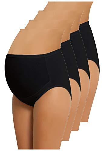NBB Lingerie 4-Pack Women's Adjustable 100% Cotton Maternity Underwear HighCut Brief (Large, 4 Pack - Black)