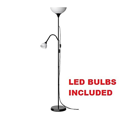 Ikea Not Floor Lamp Reading LED Light (Bulbs Included) Adjustable Spotlight Arm