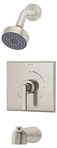 Integral Stops - Symmons S-3602-STN Duro Tub/Shower System with Integral Stops, Satin
