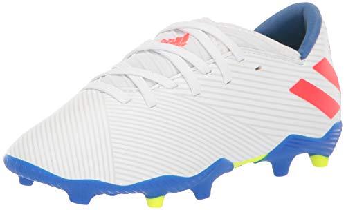 adidas Unisex Nemeziz Messi 19.3 Firm Ground J Soccer Shoe, White/Solar Red/Football Blue, 12.5K M US Little Kid