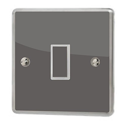 Charcoal Grey Gloss Light Switch Sticker Vinyl / Skin cover the grafix studio