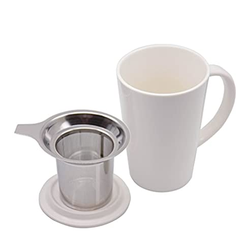 Nicelucky Porcelain Tea Mug with Infuser and Lid, 17 OZ Ceramic Coffee Cup, White