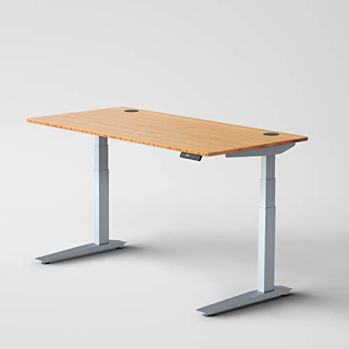 Jarvis Standing Desk Bamboo Top - Electric Adjustable Height Sit Stand Desk - 3-Stage Extended Range Frame with Memory Preset Handset Controller by Fully (Silver, 72 x 30)