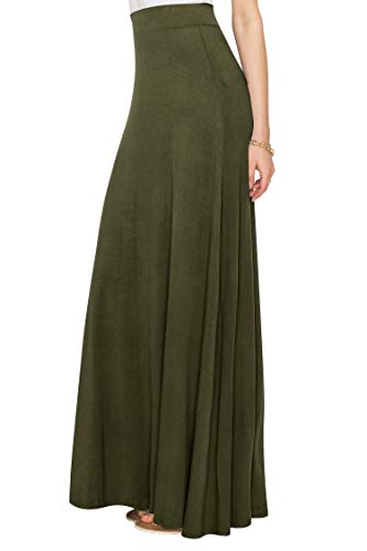 WDR1434 Womens Solid Maxi Skirt with Elastic Waist Band L OLIVE