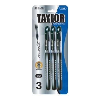 Bazic Taylor Black Color Rollerball Pen (144 Pieces) [Office Product]
