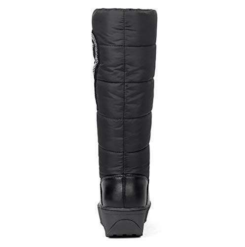 Impermeabile Scarpe Cotone Da Inverno Di Cotone Fondo Stivali Donna 37 Black Caldo brown Alunno Neve Bvc Spesso q0FBnp