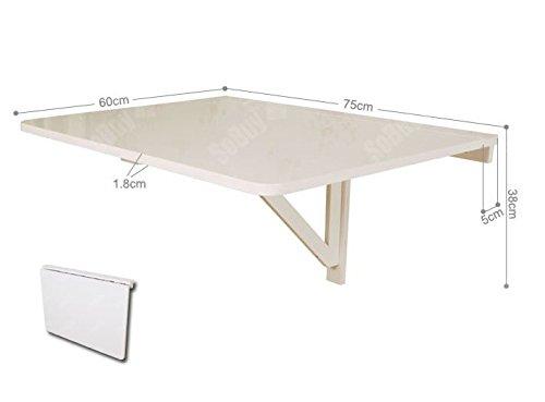 SoBuy Tavolo da muro pieghevole in legno 75 * 60cm, bianco,senza ...