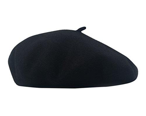 AIYUE Women Men Warm Beanie Hat Solid Color Wool French Beret Artist Painter Fancy Dress Costumes Black Black 10.6 in