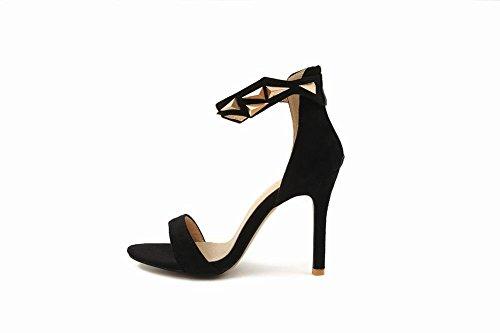 Mee Shoes Damen Stiletto Reißverschluss Open Toe Sandaletten Schwarz