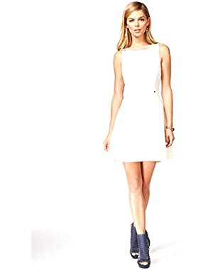 GUESS Illusion Fit & Flare Dress, White, 4