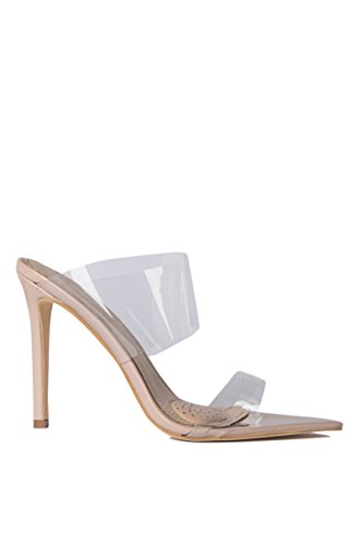 AZALEA WANG Clear PVC Double Band Nude Heel Two Clear Straps Invisible Mules Pointy Toe High Heel Sandals -NUDE_10 (Azalea Apparel)