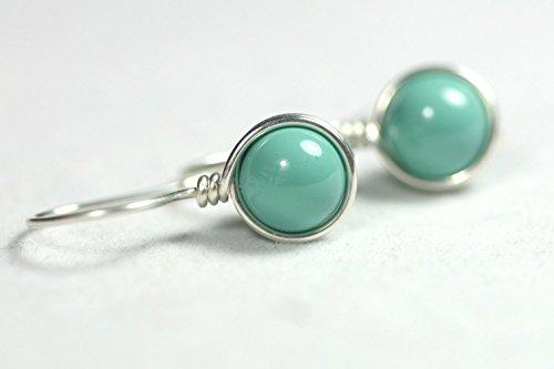 Sterling Silver Green Turquoise Earrings Jade Swarovski Pearl Drop Earrings Wire Wrapped Necklace and Earrings Set - Pearl Green Turquoise Necklace
