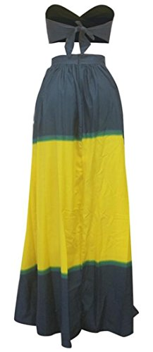 2pcs Party Outfit Gown Printed Women Dress Evening Cromoncent Strapless Yellow Swing Twx7qU5xP