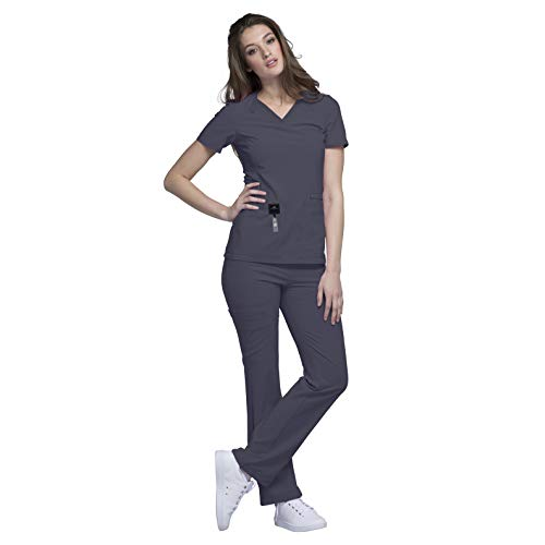 - Cherokee iFlex Womens Medical Uniforms Scrub Set Bundle- CK605 V-Neck Knit Panel Top & CK002 Pull-on Mid Rise Cargo Pants & Marc Stevens Badge Reel (Pewter - X-Small/Small Petite)