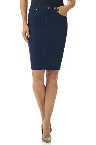 Rekucci Women's Jean-IUS Fit Unbelievable Pull-On Denim Skirt (18,Midnight Rinse) ()