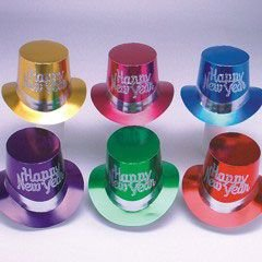 Hat Happy Top New Year (New Years Party Multi Color Top Hats - Pack of 36)