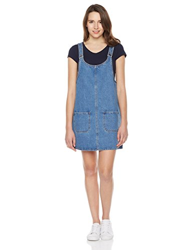 Lily Parker Womens Junior Casual Mini Pinafore Bib Dress with Pocket Mid Blue XL